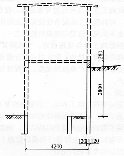 图6-12原旧楼外框轮廓(实线表示拆除后、倒塌前的状况)