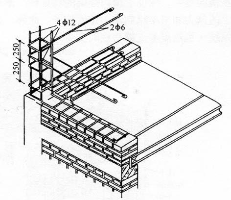 图2-28转角处的钢筋混凝土构造柱做法