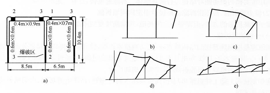 图1-5用动力有限元法模拟钢筋框架结构的倒塌过程