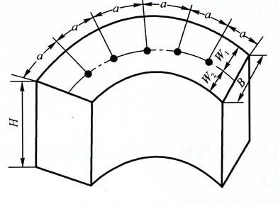 图5-1拱形爆破体的炮孔布置