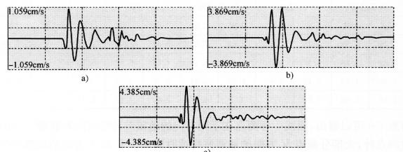 图7-158m、10m、12m模型不过沟测点5振速时程曲线图