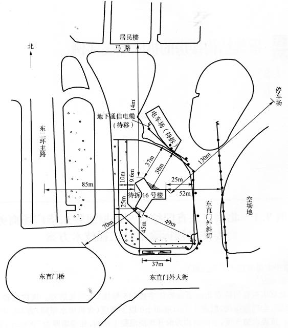 [爆破拆除案例]北京市东直门综合交通枢纽皆东华广场商务区商委住宅楼拆除爆破工程技术方案