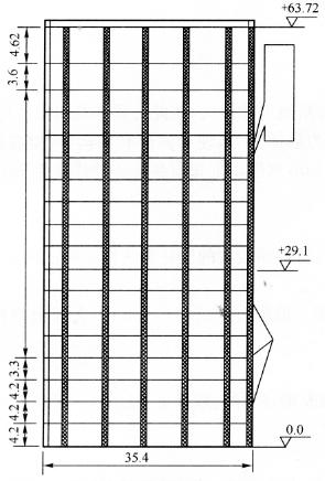 图9-9楼房东立面示意图(尺寸单位:m)