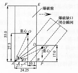 图9-20大楼倾倒重心偏移示意图(尺寸单位:m)