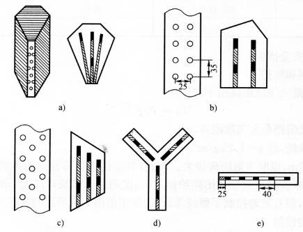 图9-21不同断面形状的立柱和剪力墙的布孔方式和装药结构(尺寸单位:cm)