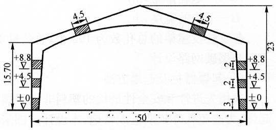图10-2比赛馆爆破缺口(尺寸单位:m)