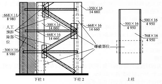 图10-5爆破部位结构及预处理示意图