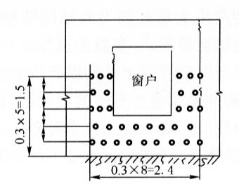 图11-2南墙炮孔布置图(尺寸单位:m)