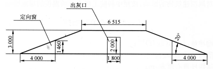 图12-3宣威电厂120m烟囱爆破缺口示意图(尺寸单位:mm)
