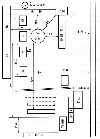 图12-20待拆除烟囱的周围环境示意图(尺寸单位:m)