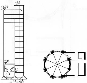 图13-13老尿素造粒塔结构图1.2m处