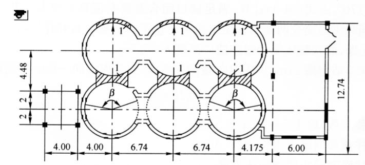 图14-7六联体筒仓结构平面图(尺寸单位:m)
