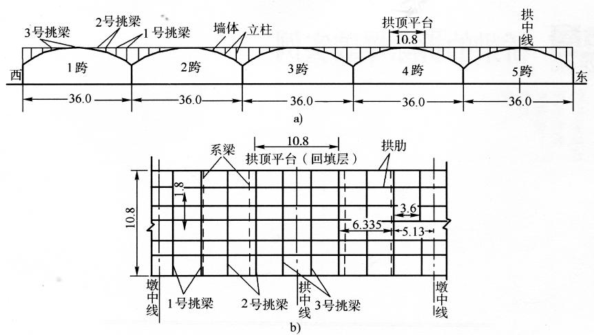图16-2解放桥立面、平面简图(尺寸单位:m)