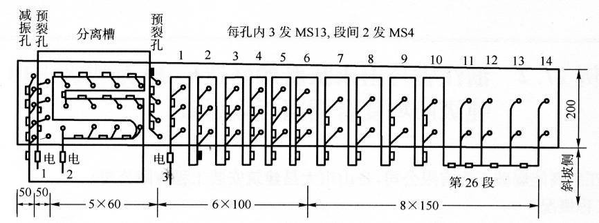 图17-3延时起爆网路(尺寸单位:mm)
