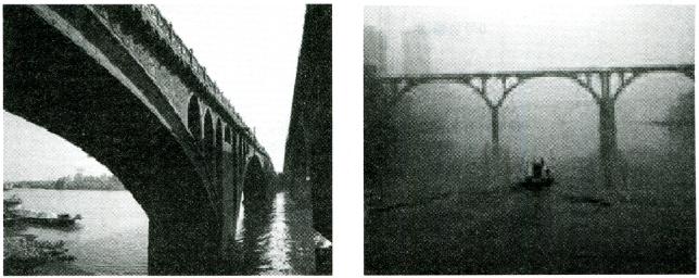 图1-2拆除前和拆除中的广东佛山澜石一桥