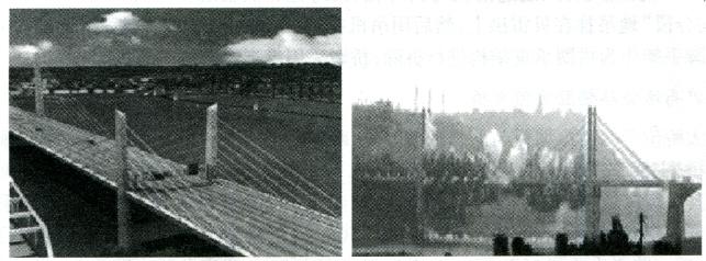 图1-4拆除前和拆除中的三台涪江大桥