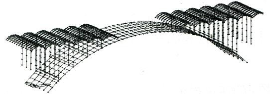 图6-1MIDAS中跨桥梁模型离散图