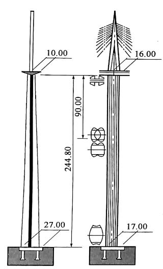 图1-14米约桥高墩示意图(尺寸单位:m)