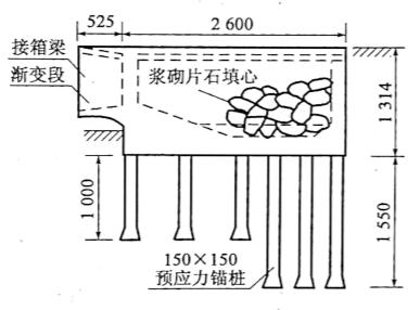 图2-42锚桩桥台一般构造图(尺寸单位:cm)