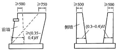 图2-56U形桥台尺寸示意图(尺寸单位:mm)