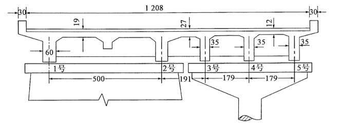 图2-94独立柱式墩加宽(尺寸单位:cm)