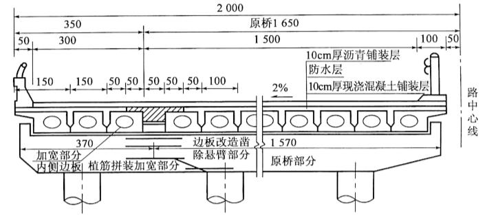 图2-95上下部均连接桥梁构造(尺寸单位:cm)