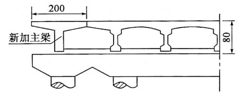 图2-97双侧加宽盖梁连为整体示意图 (尺寸单位:cm)