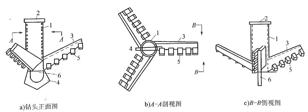 图4-22翼状钻锥构造图