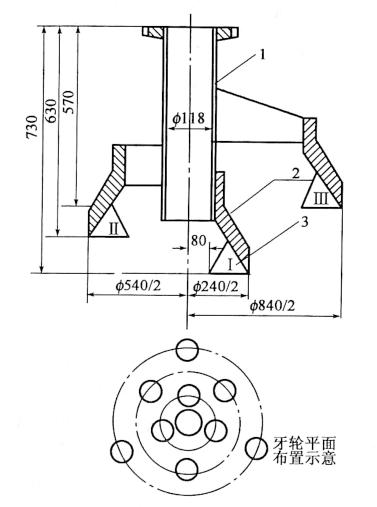 图4-23牙轮钻头(尺寸单位:mm) 1-无缝钢管;2-牙轮架;3-牙轮