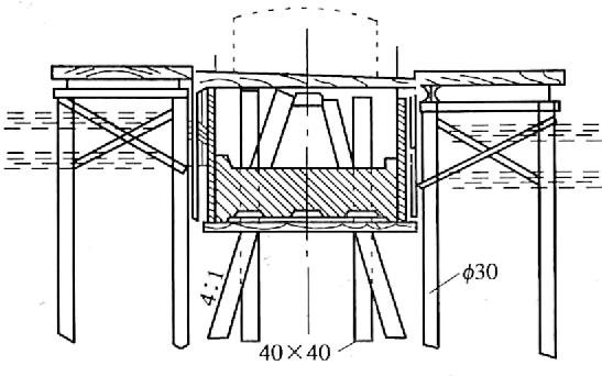 图4-42在框架上拼装套箱式模板(尺寸单位:cm)