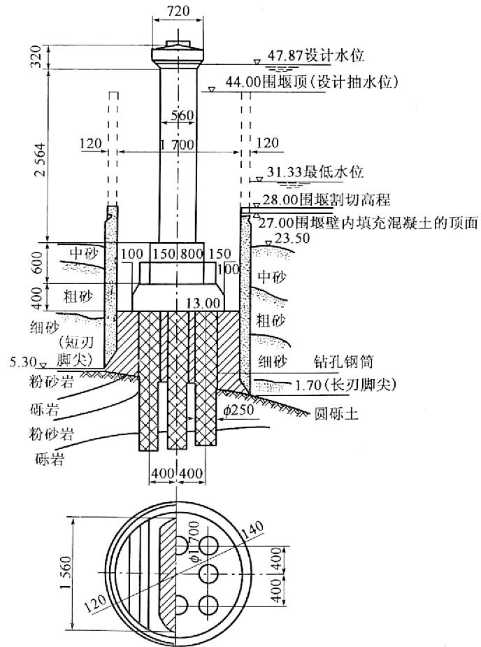 图4-44用双壁钢套箱(钢沉井)修筑钻孔桩承台(尺寸单位:cm;高程单位:m)