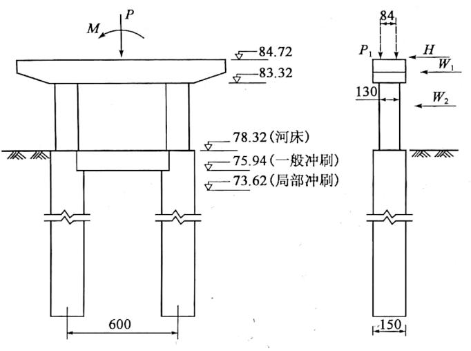 图5-35双柱式墩计算图(尺寸单位:cm)