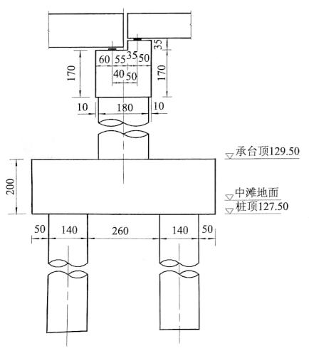 图5-58墩柱基础立面图(尺寸单位:cm)
