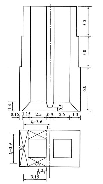 图6-37沉井尺寸构造图(尺寸单位:m)