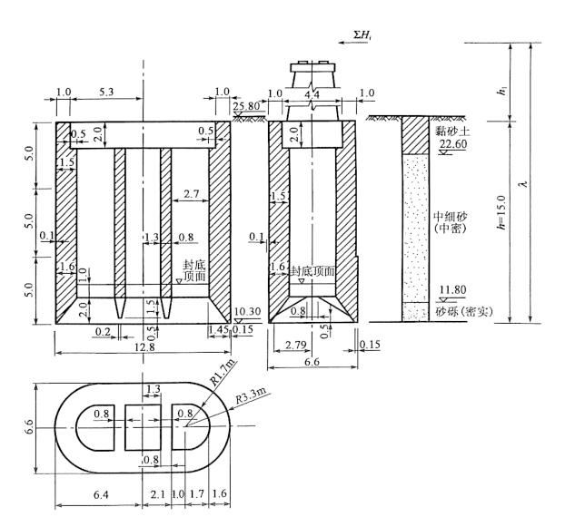 图6-41沉井构造尺寸(尺寸单位:m;高程单位:m)