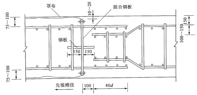 图7-11地连墙隔板接头图(尺寸单位:mm)