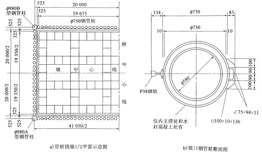 图8-12宁波桥22号主塔墩锁口钢管桩围堰结构布置图(尺寸单位:mm)