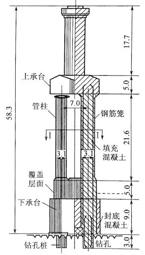 图8-16西江大桥4号墩双承台钢管柱基础 (尺寸单位:m)
