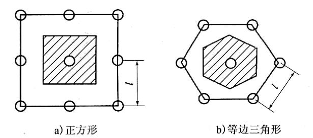 图10-11砂桩的布置及中距