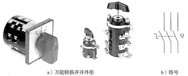 图3-43组合开关结构与符号