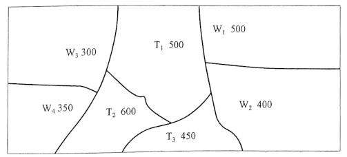 图1-22各调配区的土方量(m3)