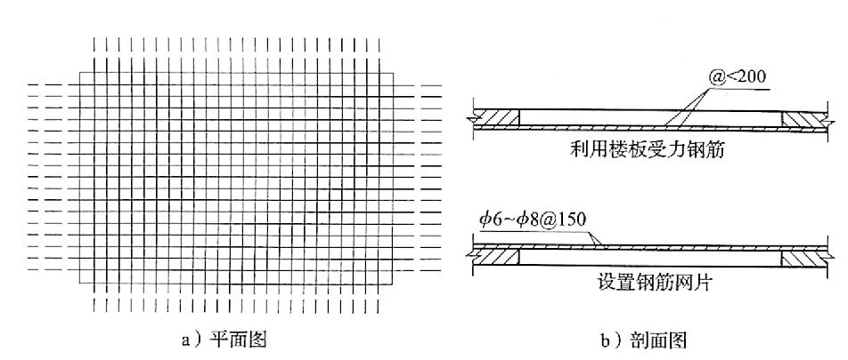 图4-13边长500~1500mm的洞口用钢筋构成防护网