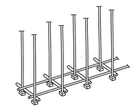 图5-12摆放扫地杆、竖立杆