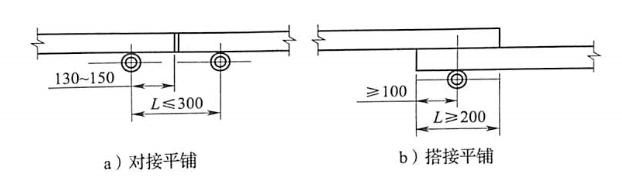 图5-17脚手板对接、搭接构造