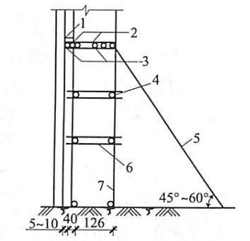 图5-34木脚手架的构造