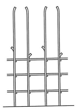 图5-42立杆上梢弯势搭接