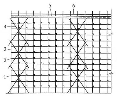 图5-46剪刀撑绑扎示意图