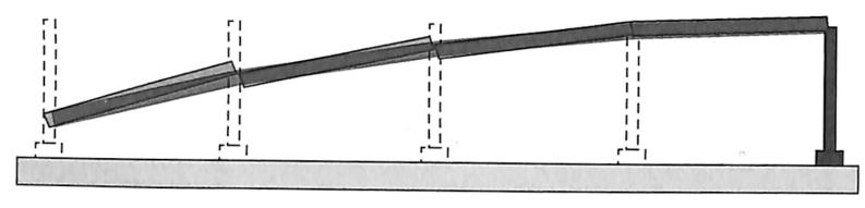 图2-13简支梁桥和梁桥连续垮塌形态对比