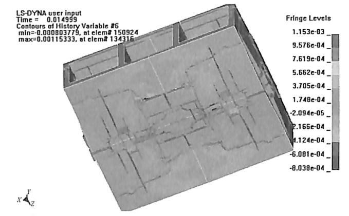 图2-23箱梁底部面板破坏情况