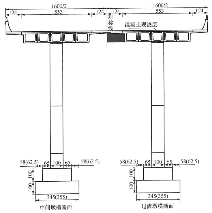 图8-6主桥典型横断面(单位:cm)